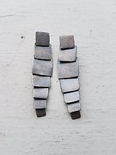 Carved Long Multi Tab Earrings by Heather Guidero (Silver Earrings)
