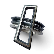 Geometric Knife Edge Stacking Rings by Heather Guidero (Silver Ring)