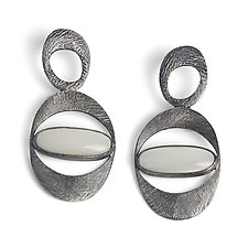 Carved Organic Oval Earrings by Heather Guidero (Silver & Stone Earrings)