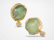 Rough Aquamarine and Diamond Earrings by Petra Class (Gold & Stone Earrings)