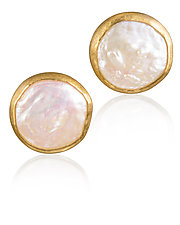 Freshwater Pearl Earrings by Petra Class (Gold & Stone Earrings)