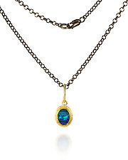 Australian Opal Pendant Necklace with Gold Frame by Petra Class (Gold & Silver Necklace)