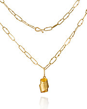 Gold Tie Pendant Necklace by Petra Class (Gold & Silver Necklace)