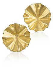 Small Gold Lotus Earrings by Petra Class (Gold Earrings)