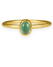 Emerald and Diamond Round Wire Stacking Rings by Petra Class (Gold & Stone Ring)