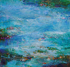 Lily Pond III by Lori Austill (Encaustic Painting)