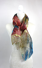 Mini Floral Organza Scarf in Teal Iwakagami Flower by Yuh Okano (Silk Scarf)
