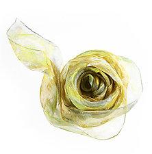 Chrysanthemum Mini Floral Organza Scarf by Yuh Okano (Silk Scarf)