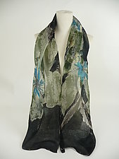 Mini Floral Organza Scarf in Black Clematis by Yuh Okano (Silk Scarf)