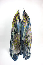 Osmanthus Organza Scarf in Dark Teal by Yuh Okano (Silk Scarf)