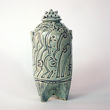 Sea Green Celadon Container by Susan Wills (Ceramic Vessel)