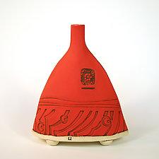 Wave Bottle by Susan Wills (Ceramic Bottle)