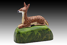 Fawn in Ferns by Dona Dalton (Wood Sculpture)