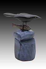 Bird Caught Fish by Dona Dalton (Wood Sculpture)