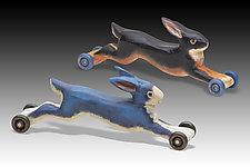Running Rabbit by Dona Dalton (Wood Sculpture)