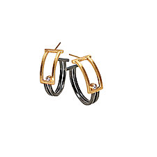 18K and Diamond Boxed Hoop Earrings by Hilary Hachey (Gold, Silver & Stone Earrings)