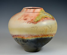 Fiery Vessel by Judith  Motzkin (Ceramic Vessel)