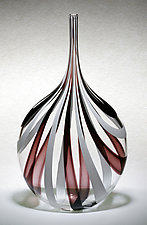 Black & White Cane Bottle by Chris McCarthy (Art Glass Vessel)