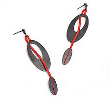 Oval Sterling Earrings with Red Stitches by Kathleen Lamberti (Silver Earrings)