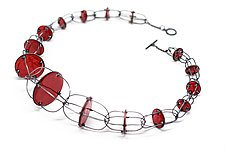 Tapered Red Enamel Necklace by Kathleen Lamberti (Silver & Enamel Necklace)