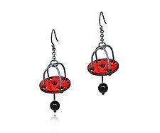 Red Disk Earrings with Onyx Dangles by Kathleen Lamberti (Copper & Enamel Earrings)