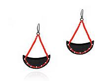 Black Crescent Earrings with Red Beads by Kathleen Lamberti (Copper & Enamel Earrings)