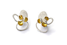 Water Lily Stud Earrings by Liaung Chung Yen (Gold & Silver Earrings)