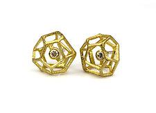 Wire Rock Earrings with Diamonds by Liaung Chung Yen (Gold & Stone Earrings)