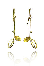Leaves with Diamond Earrings by Liaung Chung Yen (Gold & Stone Earrings)