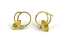 Twirling Studs by Liaung Chung Yen (Gold & Stone Earrings)