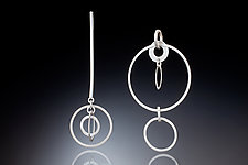 Kinetic Asymmetrical Geometric Earrings by Rina S. Young (Silver Earrings)