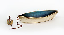 Bronze Dory with Anchor and Blue Patina by Alice McLean (Bronze Sculpture)