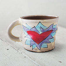 Flaming Heart Mug by Noelle VanHendrick and Eric Hendrick (Ceramic Mug)