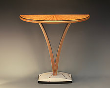 V Demilune Table by Derek Secor Davis (Wood Pedestal Table)