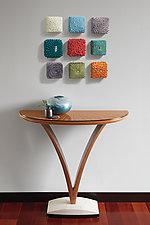V Demilune Table by Derek Secor Davis (Wood Pedestal Table)