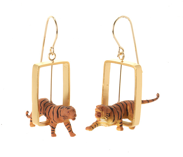 Gold Rectangle Tiger Earrings
