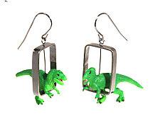 T-Rex in Rectangle Earrings by Kristin Lora (Silver Earrings)
