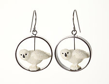 White Owl Earrings by Kristin Lora (Silver Earrings)