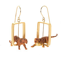 Gold Rectangle Tiger Earrings by Kristin Lora (Gold Earrings)