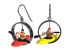 People in Kayaks Earrings by Kristin Lora (Silver Earrings)