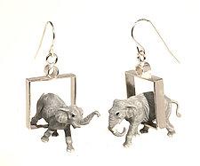 Elephants in Squares Earrings by Kristin Lora (Silver Earrings)