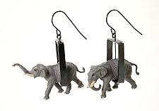 Elephants in Rectangles Earrings by Kristin Lora (Silver Earrings)