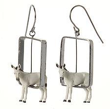 Donkeys in Rectangles Earrings by Kristin Lora (Silver Earrings)
