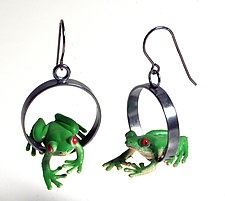 Frog Earrings by Kristin Lora (Silver Earrings)