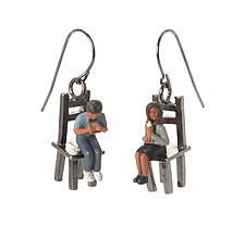 People on Small Chairs Earrings by Kristin Lora (Silver Earrings)