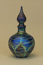 Blue Nouveau Perfume Bottle by Carl Radke (Art Glass Perfume Bottle)
