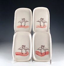 Flamingo Love Trays by Carol Barclay (Ceramic Plates)