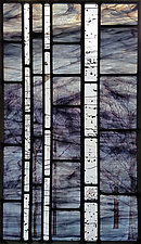 Night Woods I (Stormy Birch) by Josephine A. Geiger (Art Glass Wall Sculpture)
