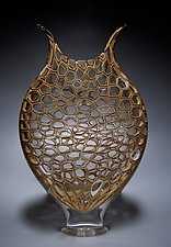 Mocha Cellular Foglio by David Patchen (Art Glass Vessel)