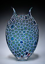 Lime and Aqua Glow Foglio by David Patchen (Art Glass Vessel)